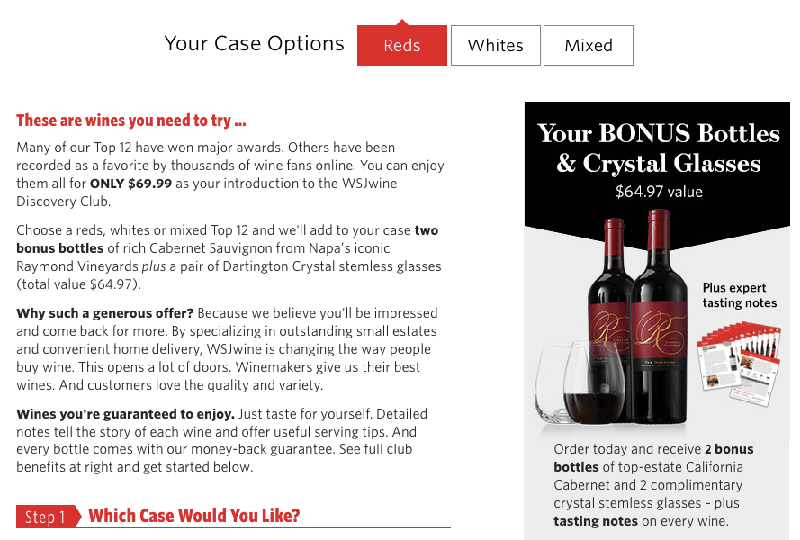 WSJ wine site